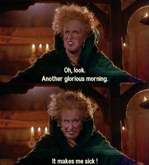 This is one of the only movies I can quote EVERY single line. I love it. Hands down, favorite childhood movie. Also, I hate mornings.