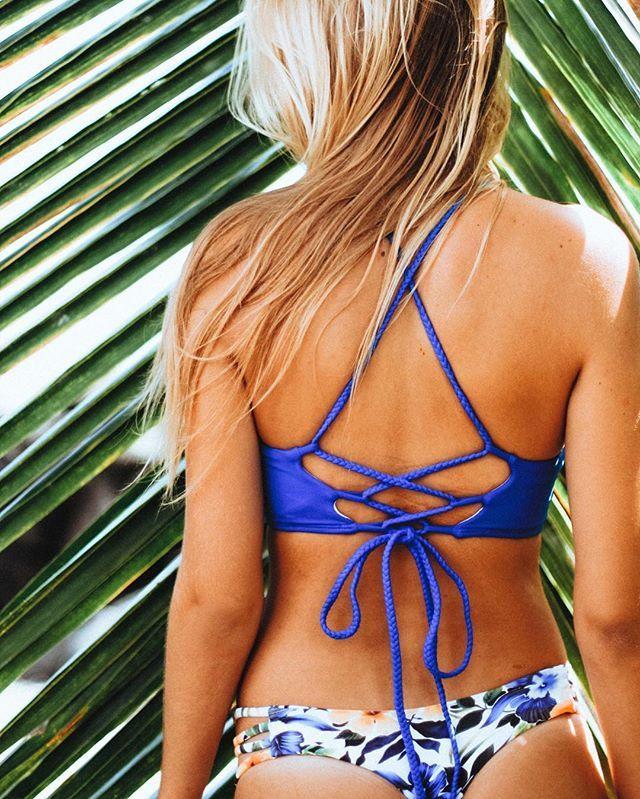 Get strappy in the braided Keira top + Floral Garden Tavarua! Ambassador @navymckee #MIDORIBIKINIS