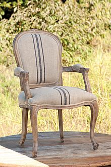French Stripe Linen Upholstered Arm Chair