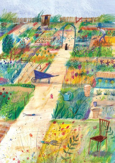 Laura Hughes - illustrator. love this. The colors, the perspective, the individual paintings formed in each patch of garden. Lovely.