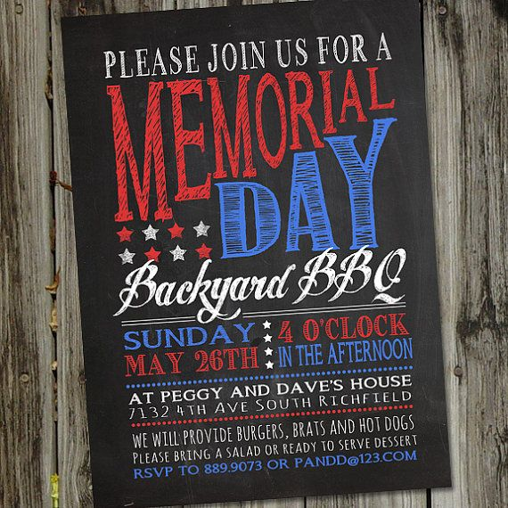 Retro Vintage Chalkboard Memorial Day Printable by partymonkey, $15.00
