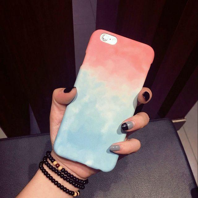 Gradiente de colores para iphone 6 caso para apple iphone 6 s plus 6 Más 5 5S Lindo Dulce Del Color Del Caramelo Cajas Del Teléfono de La Contraportada Funda