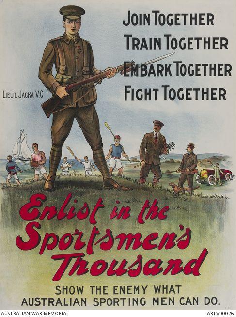 Enlist in the Sportsmen's Thousand | Australian War Memorial