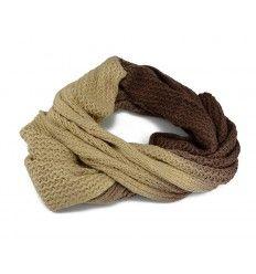Lækkert tube tørklæde i brune og beige farver - lækker blødt - SW-208