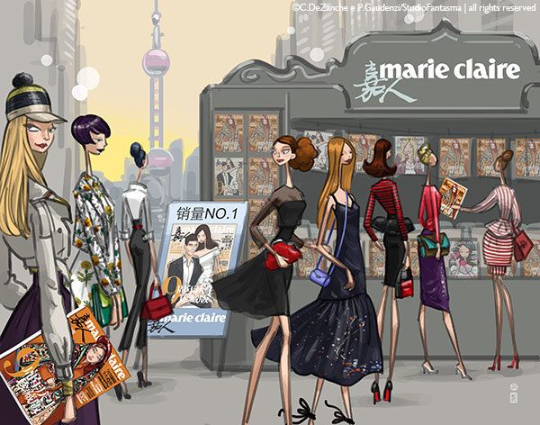 Marie Claire China - promotional illustrations