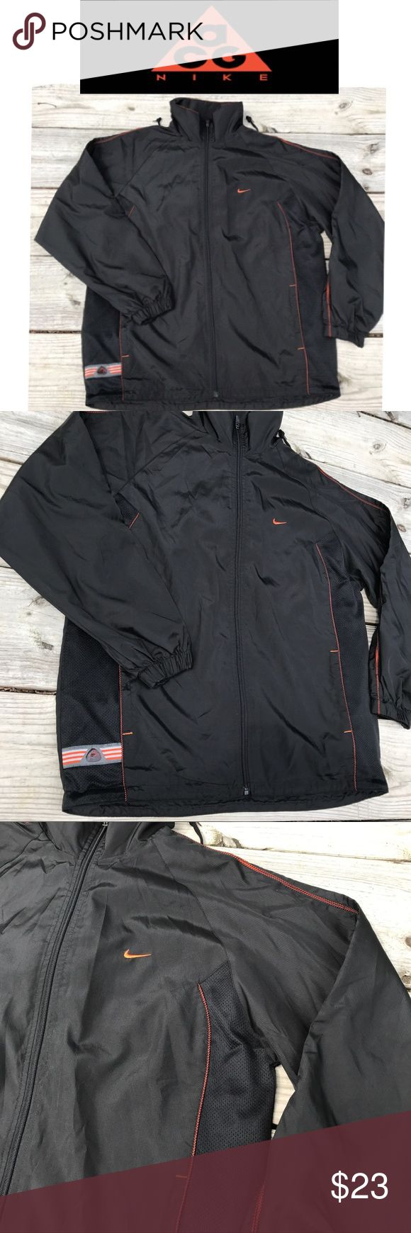 """👨Men Windbreaker 2XL clima-fit Nike ACG 🔳🔶 Excellent Condition. Black and orange intricate piping detail all over. Full zipper. 2 front pockets. Tuck in the collar hood. 2XL sleeve 30"""" pit to pit 24"""" pit to hem 16"""" Nike ACG Jackets & Coats Performance Jackets"""