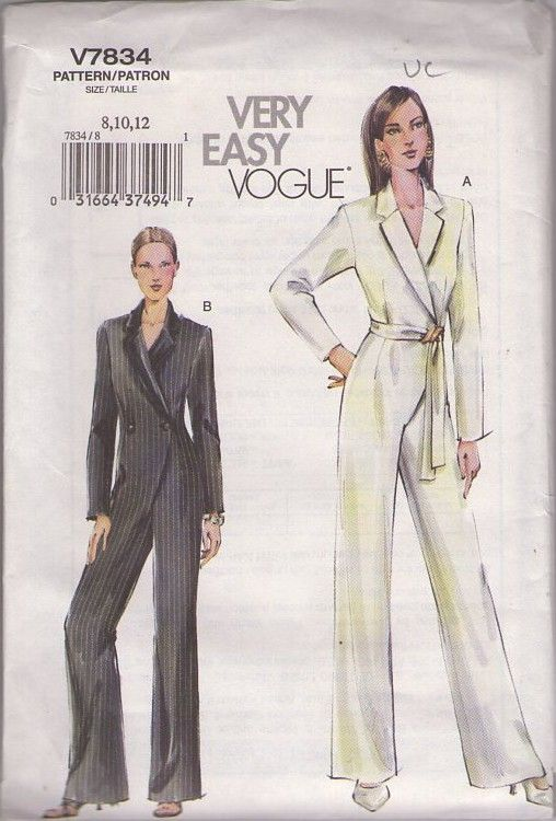 MOMSPatterns Vintage Sewing Patterns - Vogue 7834 Retro 2003 Sewing Pattern SO COOL! Very Easy Surplice Double Breasted Wrap Tuxedo Jumpsuit, Formal Wrap Hostess or Wedding Formal Size 8-12