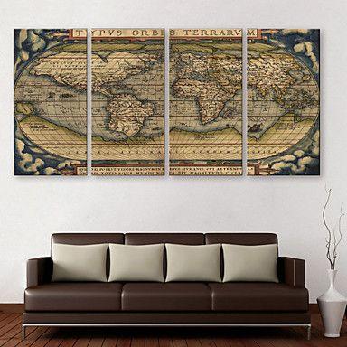 opgespannen doek zijt de wereldkaart van de decoratieve schilderkunst set van 4 2016 – €87.21