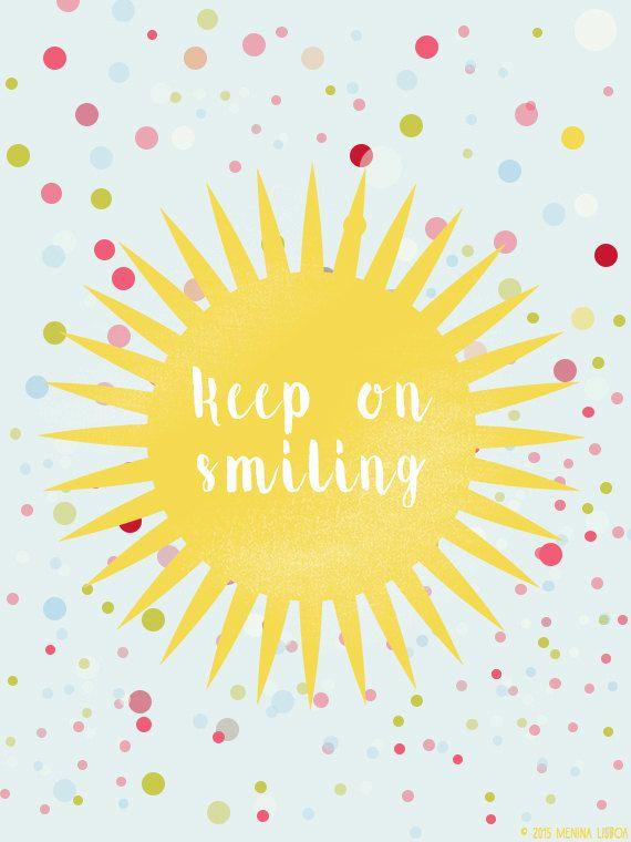 KEEP ON SMILING * Yellow Print Nursery Decor Colorful Dots Yellow by MeninaLisboa