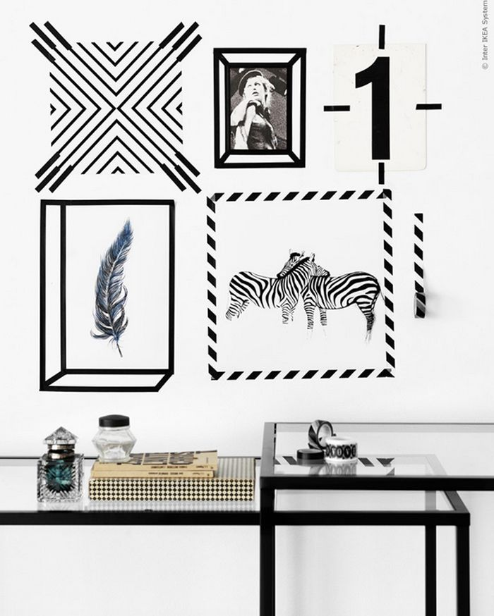 Poppytalk: 10 Stunning IKEA Hacks + Ideas from the Pros || I really like this idea of using masking tape as picture frames CREATIVE