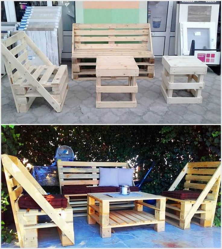 This unique wood pallet furniture set is all comprised of the chairs or the couch sets alongside with the tables located in the center of it. You can excellently arrange it in the locations of the garden areas which it add a romantic flavor in your evening coffee.