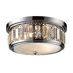 2-Light Ceiling Mount Polished Chrome Flush Mount
