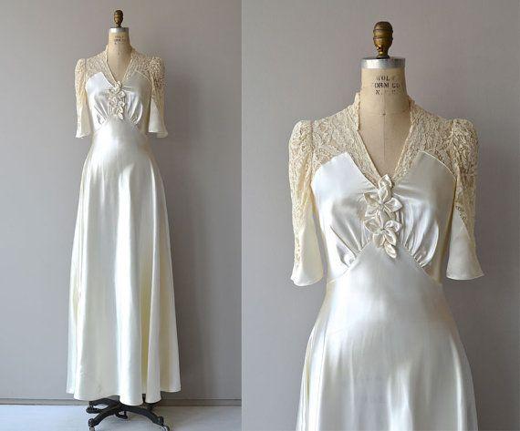 Crowning Glory Hochzeit Kleid • Vintage 30er Jahre Hochzeit Kleid • Spitze und satin 30ern Hochzeitskleid/Brautkleid