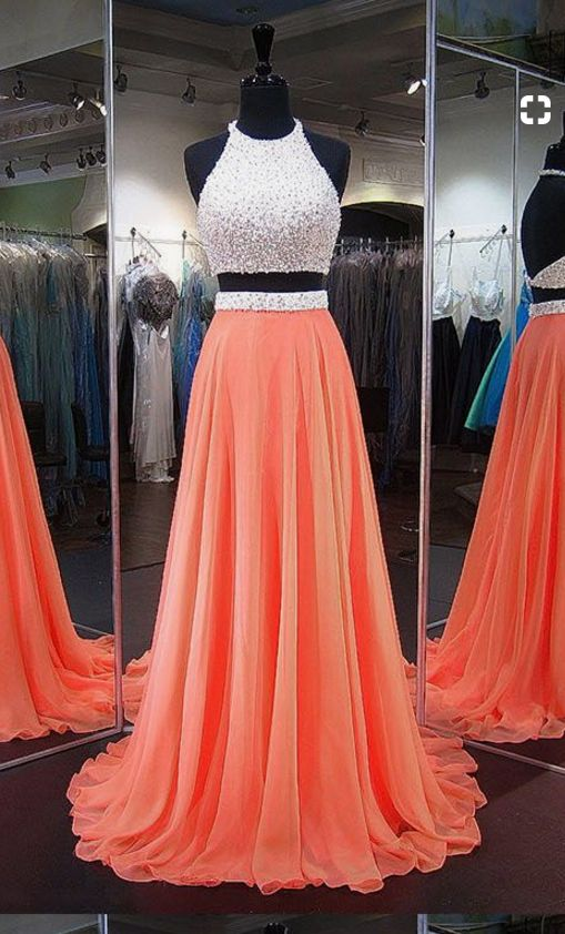 Orange Homecoming Dresses, Perfect A-line Halter Party Dresses,