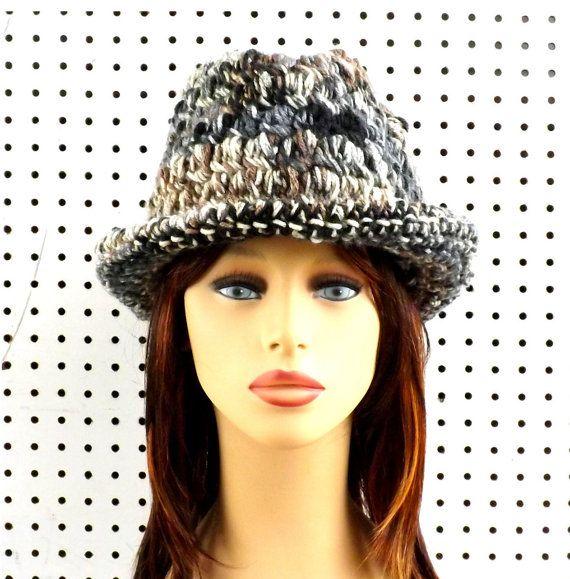 Crochet Hat Womens Hat Womens Crochet Hat Womens Fedora Hat Natural Stripe Hat…