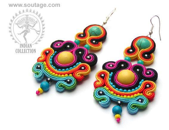 Mandalay handmade soutache earrings with howlites by SoutageAnka