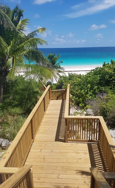 Boardwalk to Pink Sand Beach from Valentines Resort, Harbour Island, Bahamas