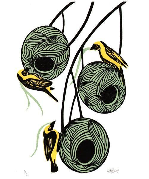Weaver bird nests - Original Linocut | Wool, Happy and Birds