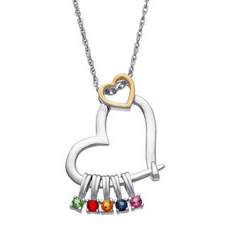 Mother's Simulated Birthstone Charms Tilted Heart Pendant in Sterling Silver and 18K Gold Plate (1-7 Stones) | Heart Necklaces | Necklaces | Zales