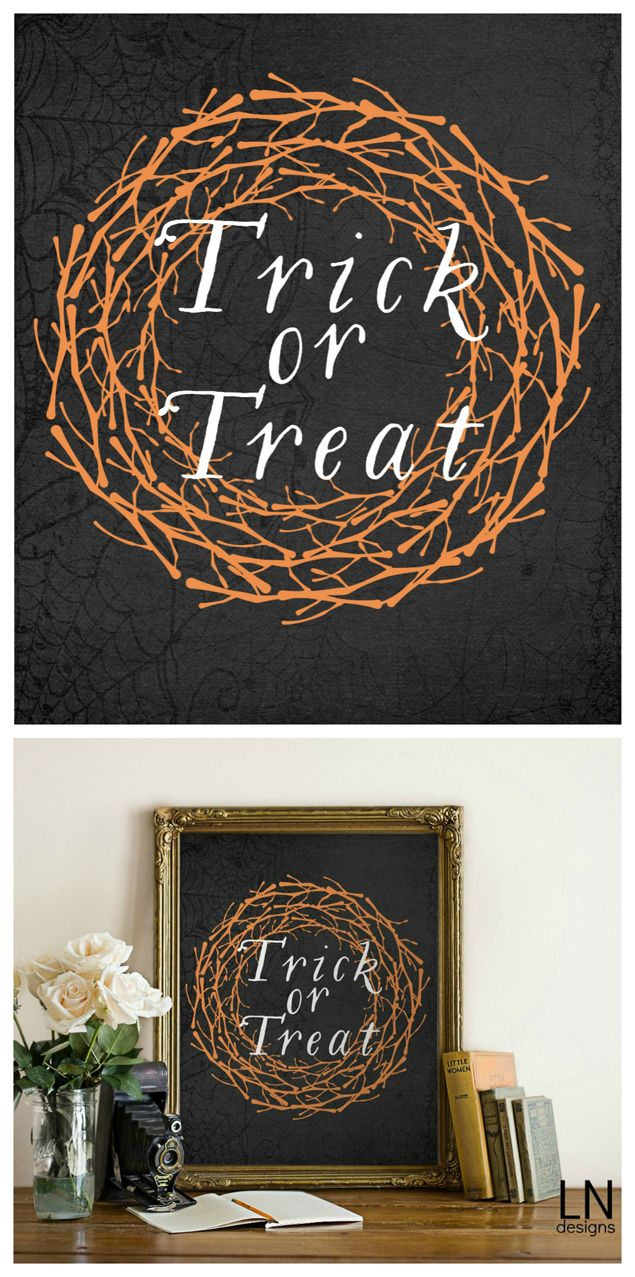 Free Trick or Treat Halloween Printable. This would be a cute addition to your Halloween decor. Free Halloween decor ideas. Best inexpensive Halloween decor ideas.