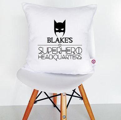 Personalised Cushion Cover Superhero Headquarters
