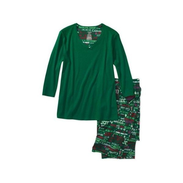 Simply Basic Women's Sleep Tee and Christmas Print Pajama Pants (£3.63) ❤ liked on Polyvore featuring intimates, sleepwear, pajamas, sleep pants, pj pants, christmas sleep pants, christmas pajamas and christmas sleepwear