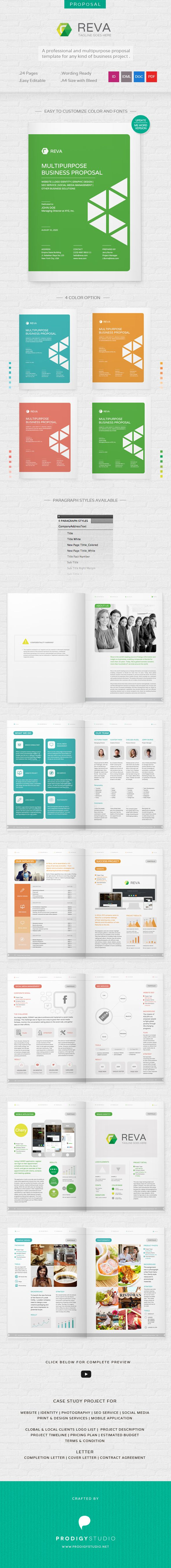 Reva – Multi Purpose Proposal Template  Save your time and money when writing a business proposal. Reva Proposal Template is a part of our complete branding solution. This proposal is suitable for multi purpose business proposal such as IDENTITY Proposal PHOTOGRAPHY Proposal, Business Proposal, SEO Proposal, PRINT & DESIGN Proposal, MOBILE APPLICATION Proposal.   Download here: http://graphicriver.net/item/reva-multi-purpose-proposal-template/6803021?ref=prodigystudio