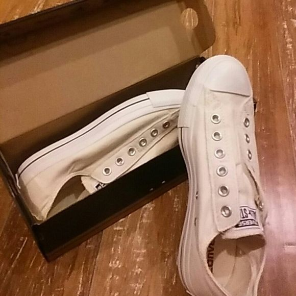 Women's converse natural slip on Women's converse natural slip ons....re-poshing..new never worn...they dont fit :( too big. Super cute Converse Shoes Flats & Loafers