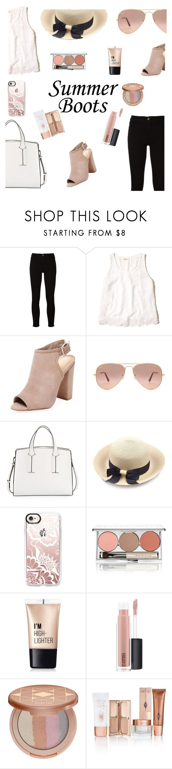 """""""summer boots"""" by a-hidden-secret ❤ liked on Polyvore featuring Frame, Hollister Co., Schutz, Ray-Ban, French Connection, Casetify, Chantecaille, Charlotte Russe, MAC Cosmetics and tarte"""
