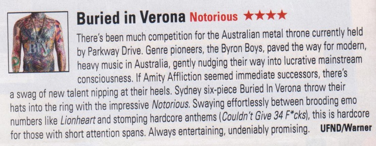 Buried In Verona review in this month's STACK Magazine.