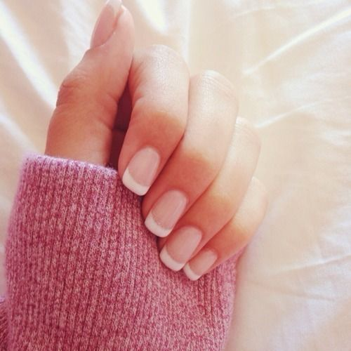 Shellac French manicure showing the correct amount of Nail white.  It should not go halfway down your finger nor should it be a straight line!