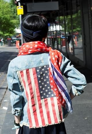 #DIY DISTRESSED STUDDED STUDS USA FLAG VINTAGE RETRO DENIM JACKET