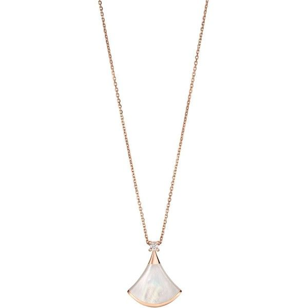 Bvlgari Rose Gold Mother-Of-Pearl and Diamond Divas' Dream Necklace (6.510 BRL) ❤ liked on Polyvore featuring jewelry, necklaces, rose gold diamond jewelry, pink gold necklace, bulgari necklace, sparkling jewellery and diamond jewellery