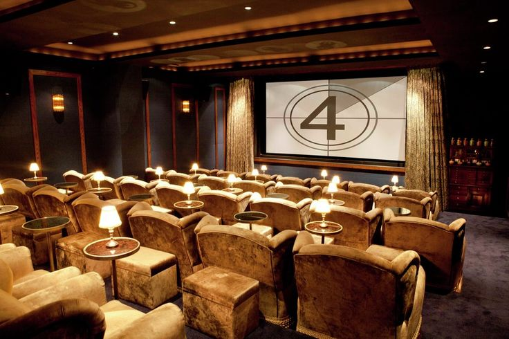 "SoHo House Screening Room NYC  |  THIS is my idea of a PERFECT home theatre (or ""screening room"")!!!  The chairs are fantastic & have beautiful fringe trim along the bottom (noticed that on the jamie foxx episode of oprah's next chapter).  But the overall feel & tone of this room...PERFECTION!!  The chairs, the colors, the footstools, the drinks tables...I'M MELTING!!!"