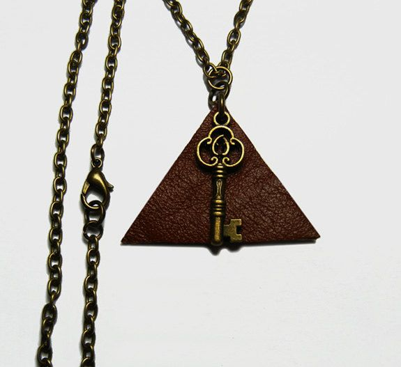Brown Leather Triangle Bronze Key Necklace by FoxliciousDesign on Etsy