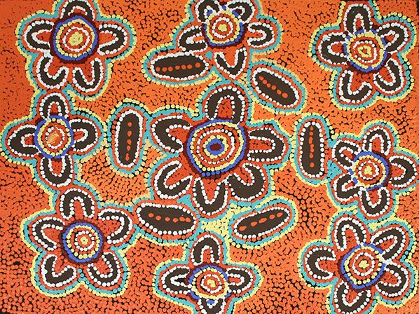 THE ARTERY Aboriginal Art - This painting depicts women hunting for bush foods. The sacred site associated with this story is represented as a circle around which the women sit. The women are depicted by the U-shapes, they are looking for sweet berries that are only available certain times of the year.