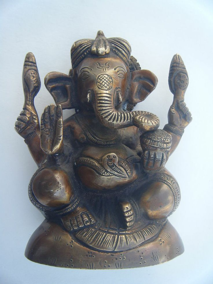 GANESHA Brass Statue Vintage Traditional Indian Elephant ...