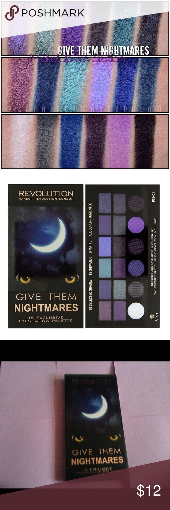 nightmares palette only 1 left perfect for the glamorous goth such gorgeous gorgeous colors makeup revolution give them nightmares palette  BNIB free darth vader hair bow, .2 cross rings and  darth vader brooch  SAVE HARDCORE BY BUNDLING! check out the rest of my page  urban decay nars too faced kylie sephora ulta strobe highlight contour palette victorias secret pink nyx Anastasia unicorn mermaid rainbow shimmer moon child makeup nightmare before xmas jack goth gothic rocker punk makeup…