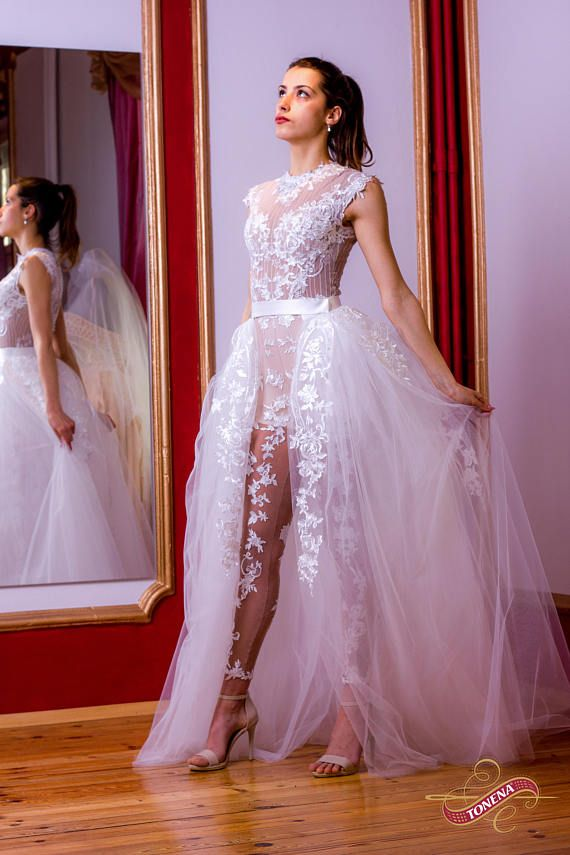 383782dc07a1 Wedding jumpsuit in white, Lace wedding romper, birdal or wedding jumper,  bridal playsuit, Alternative wedding dress with detachable skirt