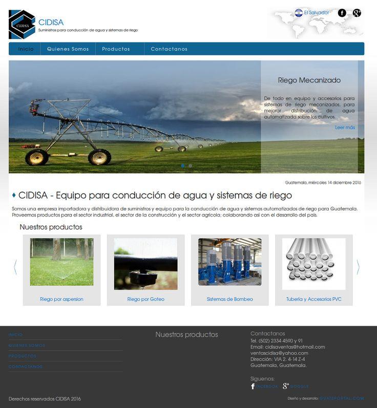 CIDISA Guatemala es una empresa importadora y distribuidora de suministros y equipo para la conducción de agua y sistemas automatizados de riego para Guatemala. Para saber más de ellos visita www.cidisagt.com
