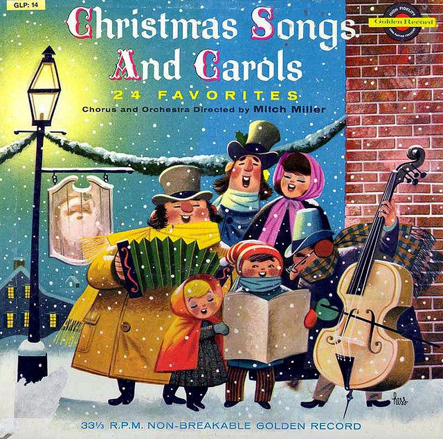 Christmas Songs And Carols Record Cover.  Cover art by Lowell Hess.
