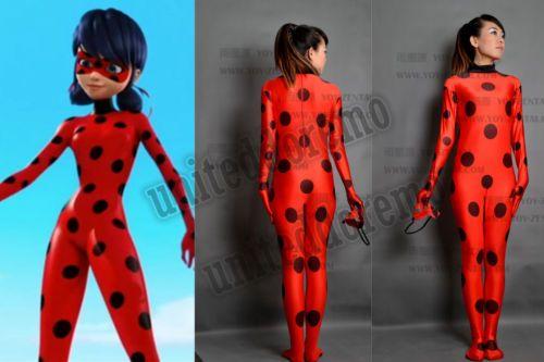 Disfraz de Utilería Disfraz Mmarinette milagroso Ladybug Ladybug Spandex Traje Unisex