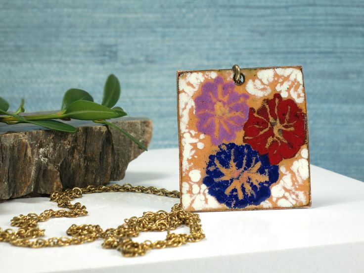 Floral Enamel on Copper Pendant Necklace - Flower Power 1970s Copper Art Pendant - Large Enameled Copper Art Necklace - Square Medallion by EightMileVintage on Etsy