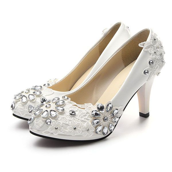 White Floral Lace Shiny Crystal High Heels Wedding Shoes - US$36.96