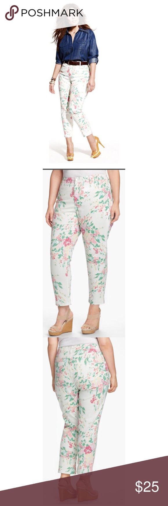 NYDJ 'Audrey' Floral Jeans A bouquet of pastel blossoms graces slim stretch-denim jeans styled with a straight-leg silhouette and ankle-grazing length for versatile wear. Exclusive lift-tuck technology helps flatten the tummy and lift  Zip fly with button closure. Five-pocket style. Cotton/spandex; machine wash. By NYDJ; made in the USA. Size 10 NYDJ Jeans