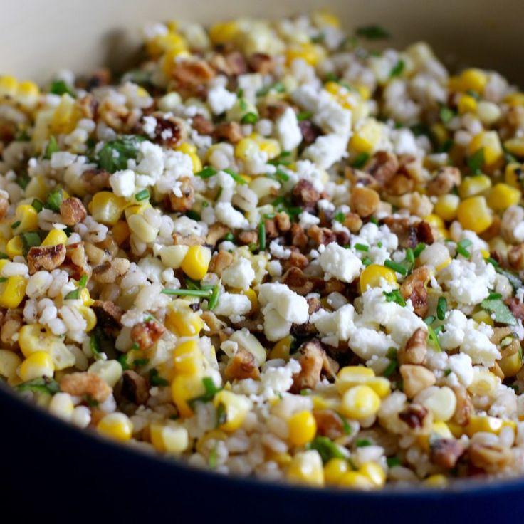 Corn and Barley Salad with Walnuts, Feta Cheese, and Basil – Bourbon and Brown Sugar