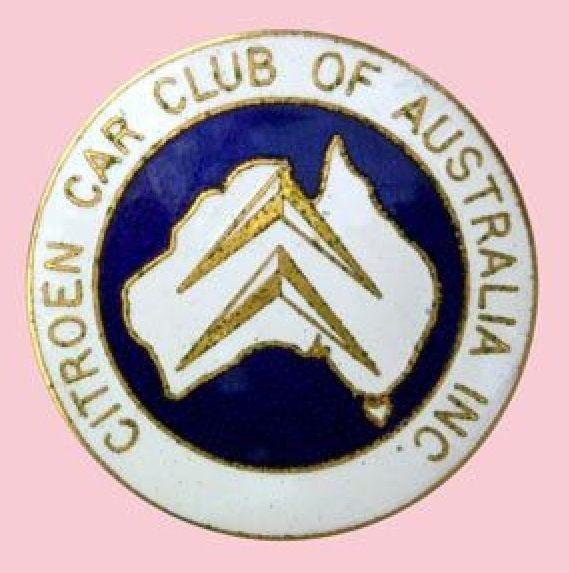 Citroen Car Club of Australia Inc. large enamel badge • history of Citroen Clubs in South Australia • photographed by Citroen Societe South Australia Inc.