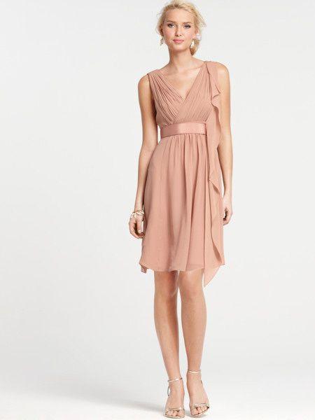 beautifully v-neck a-line knee length bridesmaid dress with cascading shoulder