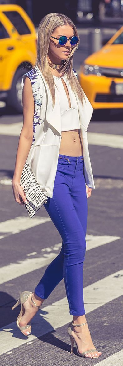 Blue And White Casual Chic Streetstyle