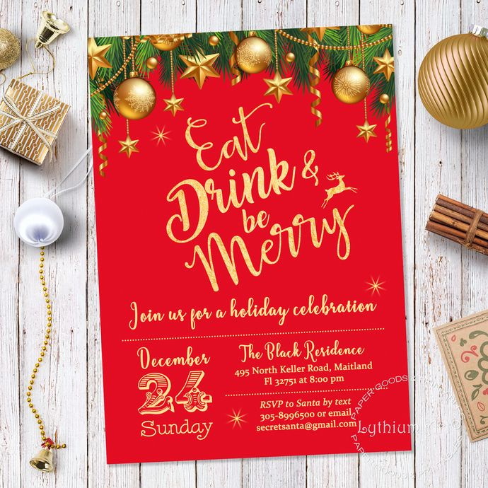 Christmas Invitation Christmas Party Invitation Winter Invitation Christmas Invitation Printable Holiday Invitation Red And Gold Invite New Years Eve Invitations Christmas Party Invitations Holiday Invitations